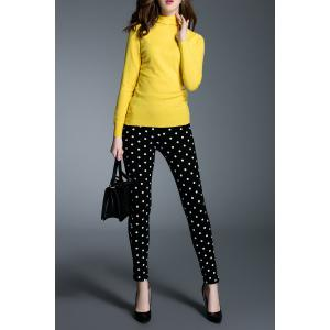 Mid-Waist Polka Dot Narrow Feet Pants -