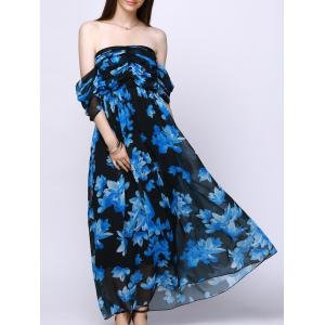 Strapless Bandeau Floral Maxi Flowy Chiffon Dress - Blue And Black - L