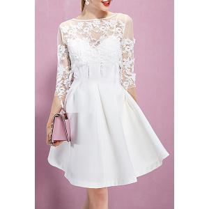 Lace Flower Embroidered See Through Dress -