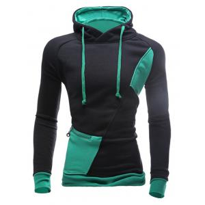 Color Block Spliced Hooded Drawstring Zipper Design Long Sleeve Men's Hoodie - Black And Green - 3xl