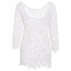 Sexy Round Neck 3/4 Sleeve Cut Out Crochet Women's Cover Up
