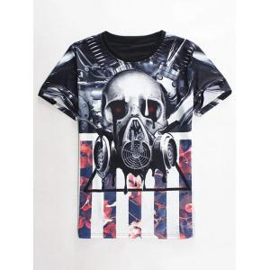Slimming Round Neck 3D Mechanical Skull Print Short Sleeve Men's Graphic T-Shirt - Colormix - M