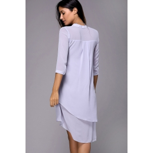 Solid Color High Low Shirt Dress -