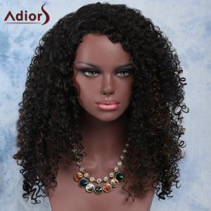 Fashion Long Synthetic Fluffy Dark Brown Mixed Curly Adiors Wig For Women