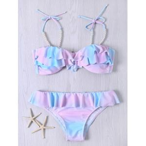 Cute Spaghetti Strap Flounced Beaded Color Ombre Bikini Set