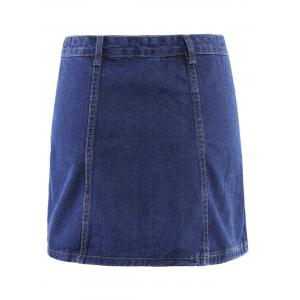Button Front Mini Denim Skirt - BLUE L
