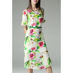Ruffle Sleeve Flower Print Dress with Cami Dress -