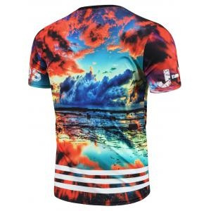 Round Neck 3D Colorful Sky Print Short Sleeve T-Shirt For Men - COLORMIX S