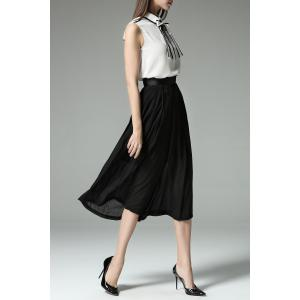 Bowknot Shirt and Pleated Wide Leg Pants Twinset -