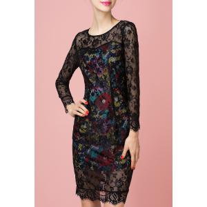 Sheath Floral Print Lace Spliced Dress -