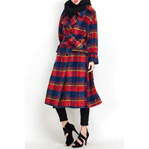 Plaid Wool Blend Coat with Belt -