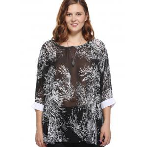 Stylish Loose-Fitting Scoop Neck Tree Print Top For Women -