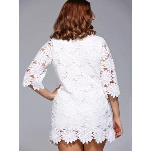 Stylish Plus Size Floral Pattern Lace Overlay Dress For Women -