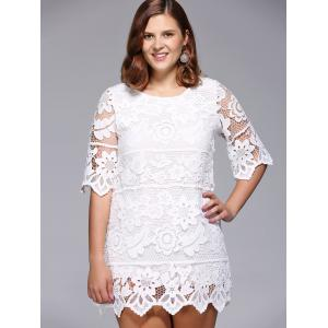 Floral Plus Size Lace Cocktail Dress - White - One Size(fit Size L To 3xl)