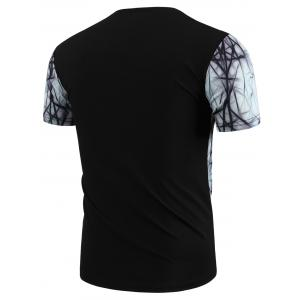 Round Neck 3D Abstract Geometric Print Short Sleeve T-Shirt For Men - COLORMIX M