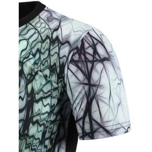 Round Neck 3D Abstract Geometric Print Short Sleeve T-Shirt For Men - COLORMIX XL
