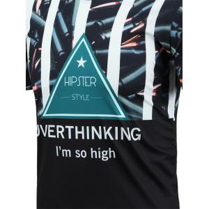 3D Graphic Geometric Print Short Sleeve T-Shirt - COLORMIX M