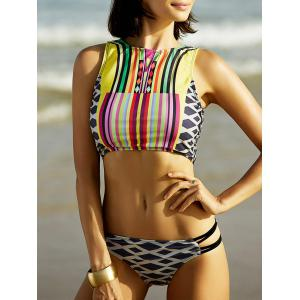 Racerback Geometrical Print Bikini Top Swimsuit