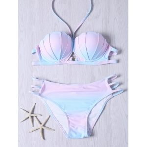 Sweet Halter Neck Ombre Design Bikini Set