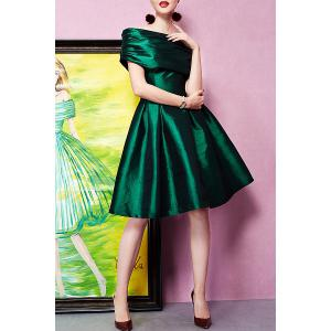 Off The Shoulder Ruched Cocktail Dress - GREEN XL