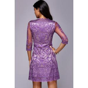 Embroidered Voile See Through Mini Dress -