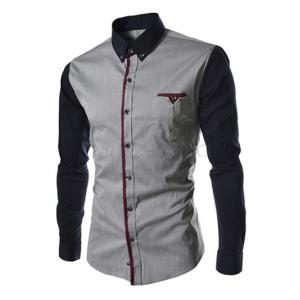 Casual Color Block Button-down Long Sleeves Shirts For Men