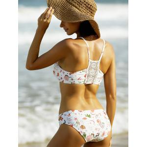 Stylish Floral Print Bikini For Women - WHITE XL