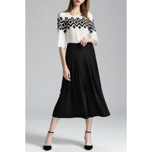 Print Blouse and Wide Leg Pants Twinset -