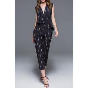 V-Neck Chain Print Zipper Detachable Jumpsuit -
