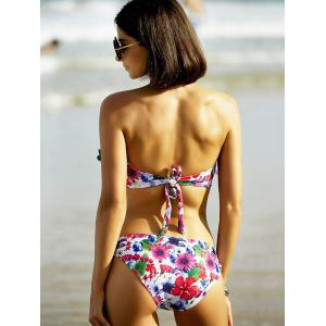 Stylish Strapless Floral Print Bikini For Women -