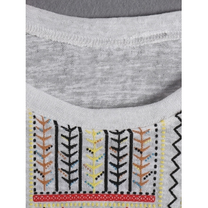 Ethnic Dolman Sleeve Tribal Printed T-Shirt For Woman -