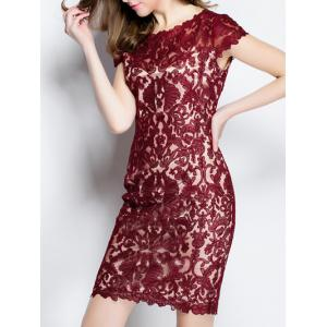 Trendy Solid Color Lace Bodycon Dress - DEEP RED XL