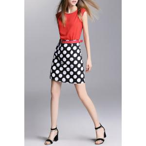 With Belt Polka Dot Dress -
