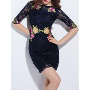 Trendy Embroidered Lace Bodycon Dress - PURPLISH BLUE M