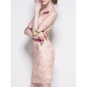 Trendy Embroidered Lace Bodycon Dress -