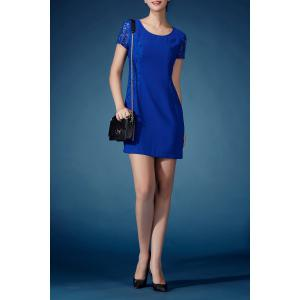 Lace Spliced Solid Color Sheath Dress -