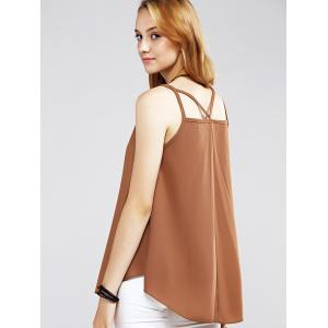 Alluring Strappy Curved Hem Chiffon Women's Tank Top -