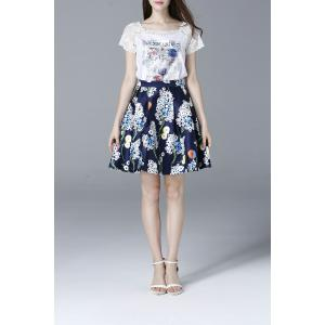 Lace Spliced T-Shirt and High Waist Printed Skirt Twinset -