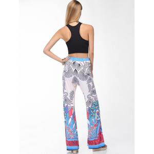 Stylish Round Neck Tank Top and Printed Wide Leg Pants Set For Women -