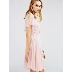 Choker Surplice Nipped Waist Chiffon Club Dress With Short Sleeve -