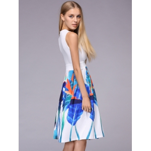 Alluring Plunging Neck Sleeveless Printed Ruched Dress For Women -