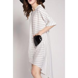 Striped Pockets Patchwork Shirt Dress -