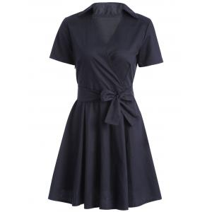 Vintage V-Neck Short Sleeve Dress For Women
