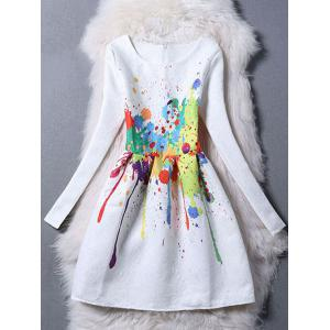 Long Sleeve Splatter Paint Skater Dress