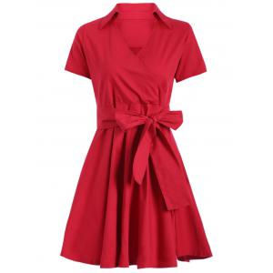 Retro V-Neck Short Sleeve Women's Dress