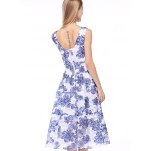 Midi Floral A Line Swing Dress - MEDIUM BLUE XL