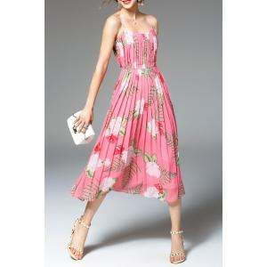 Flower Print Pleated Dress -