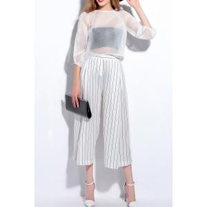 Pockets Striped Culotte Pants -