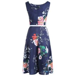 Vintage Belt Tie Sleeveless Floral Print Women's Dress -
