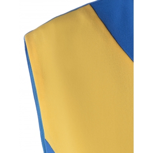 Fashionable Color Block Dress For Women - BLUE/YELLOW S